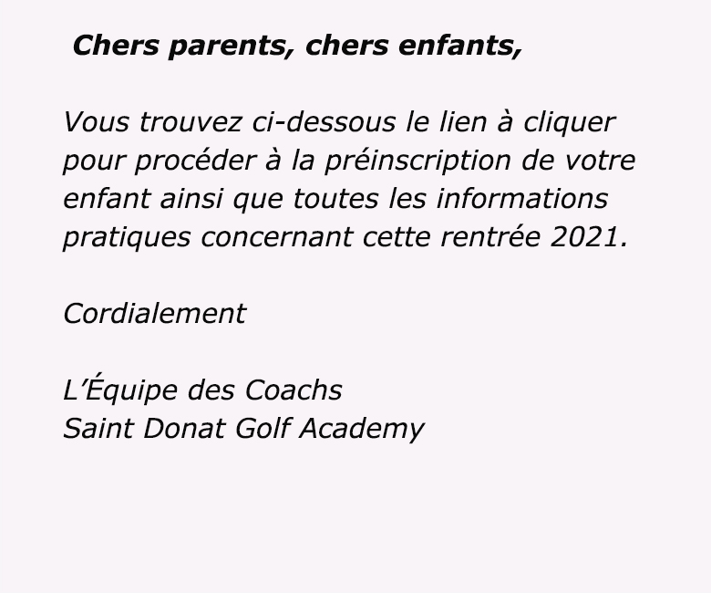 Formulaire de préinscription à l'école de golf pour la rentrée 2021